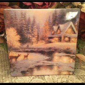 Thomas Kinkade Christmas Tile Trivets Set of 2